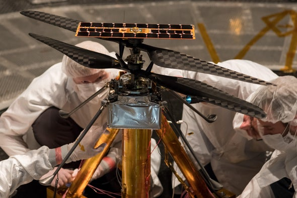 Ingenuity, a helicopter bound for Mars