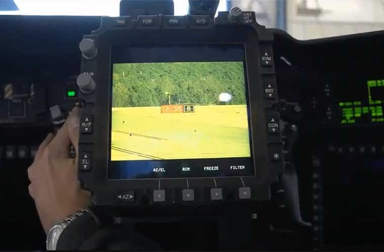 The GEN3 M-DSA high-resolution full-color imagery, shown on the TEDAC inside the Apache V6's cockpit. (Image Source: Lockheed-Martin)