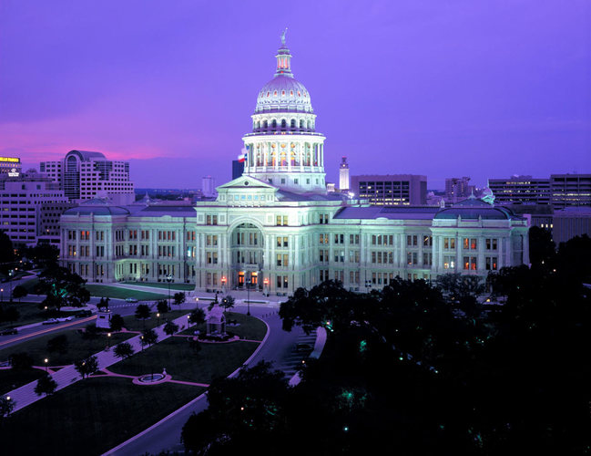 Texas State Capitol Building at night after controversial social media law is signed